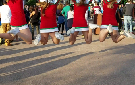 Cheerleaders perform in the Magic Kingdom