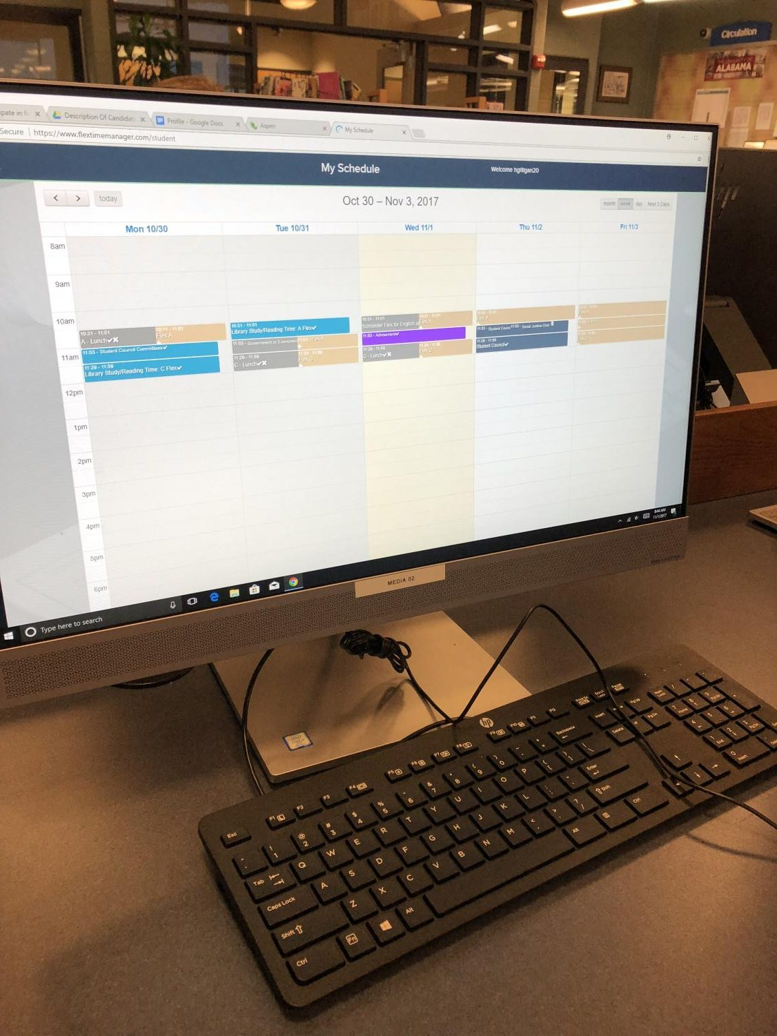 Flextime manager viewed on the computer whenever you log onto your school account.