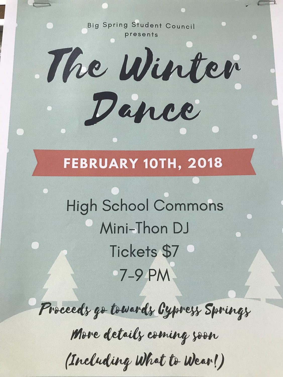 Details for Winter Dance, where it is taking place, when, time, and reasoning for the dance