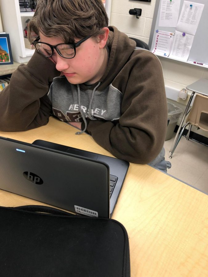Student tries his best to stay awake in first period Monday morning at 7:28. Cody Jones is a freshman at Big Spring High School and often struggles staying awake for his classes, especially on Mondays.