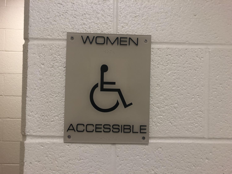 Wheelchair accessible bathroom sign.