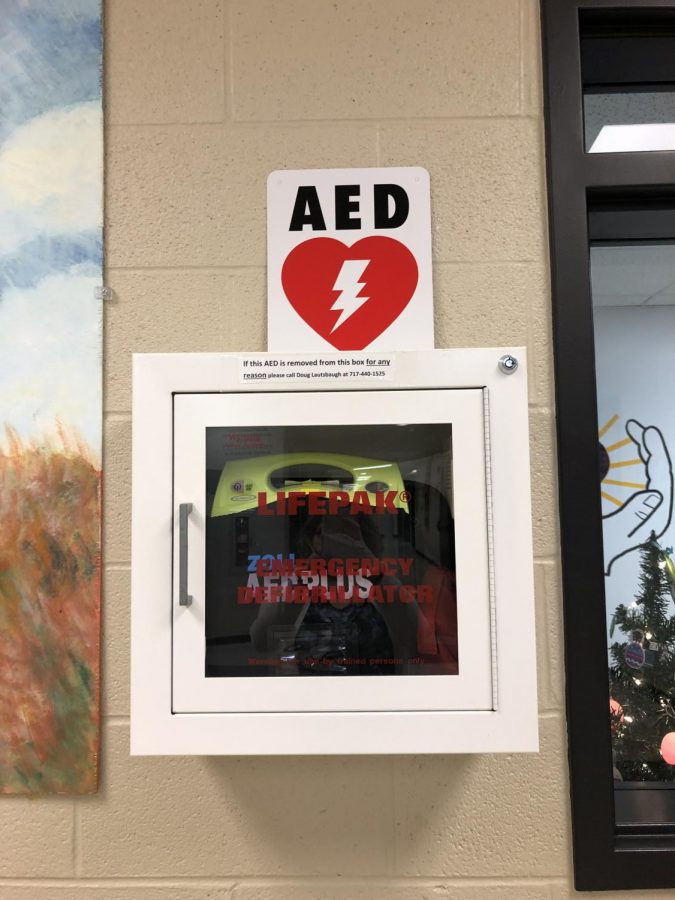 AED station outside of the nurses office.