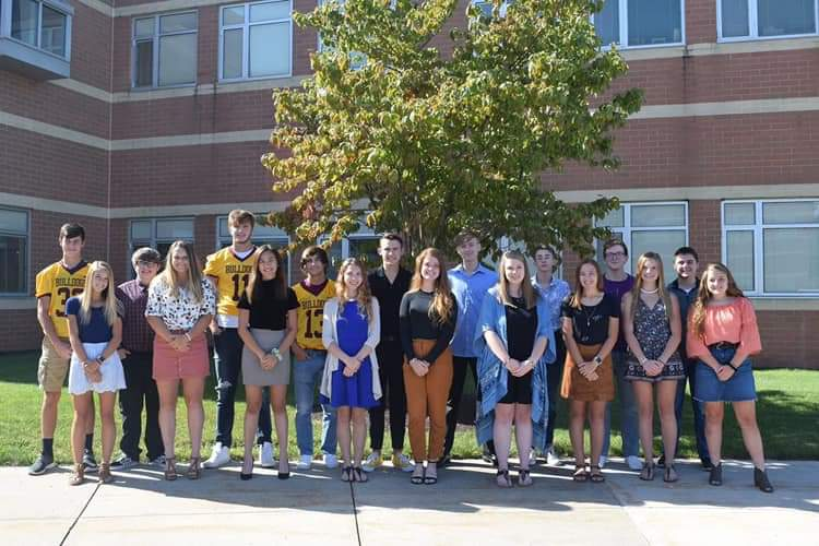 The 2019 Homecoming court poses for a picture right outside of the high school. This years homecoming King and Queen were Gavin Pritchard and Regan Donato.