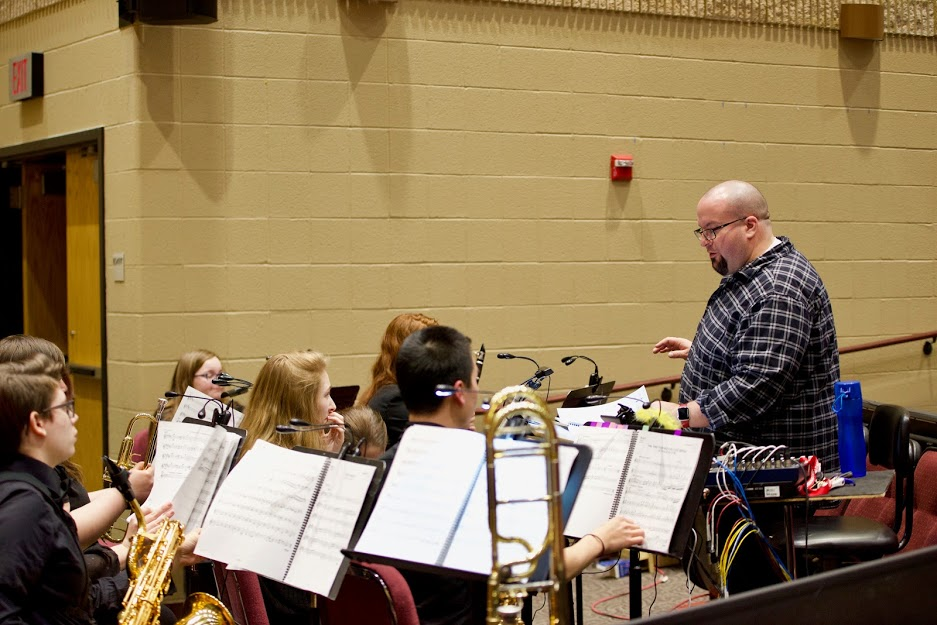 Adam Nobile conducting the pit for Seussical last year. He is the tech director this year.