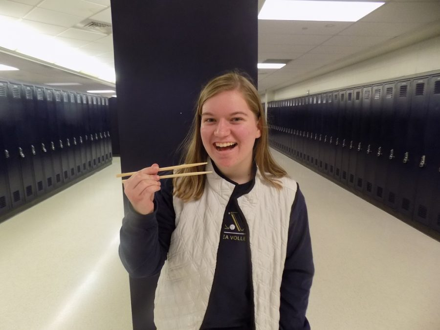 Sophomore competes with chopsticks