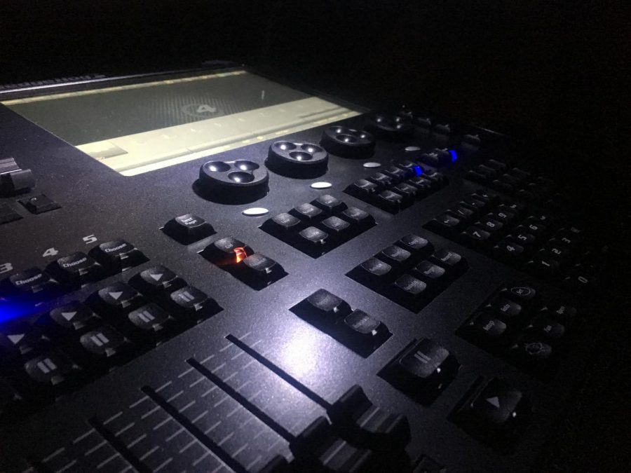 The new lighting system sits in the tech-booth ready to be programmed for the next show.
