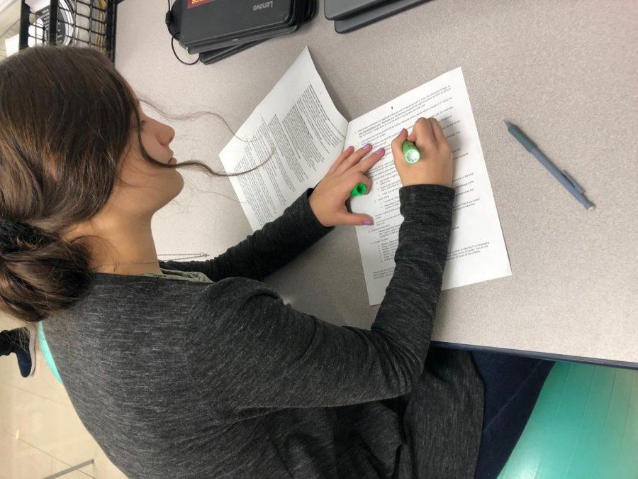 A student prepares for her standardized exam in May. Kennedy Sheriff is in 9th grade and will take the Biology Keystone.