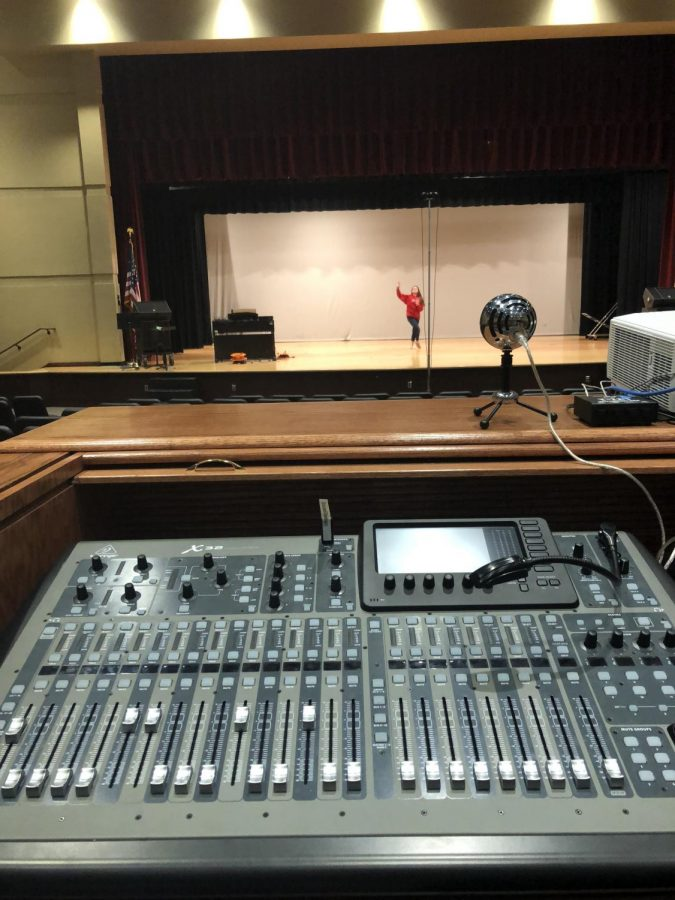 This is the sound board that is used in Lighting and Sound Design and is located in the auditorium. The sound board was a new addition to the course due to being new this school year.