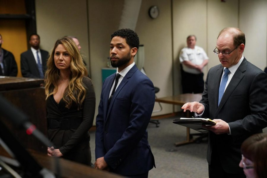 Jussie+Smollett+as+he+faces+the+judge+in+court.+All+charges+against+him+would+later+be+dropped.+